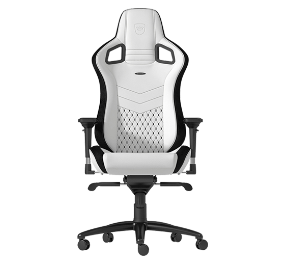 Pokimane uses a Noblechair Epic gaming chair in white.