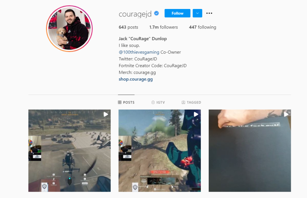 CourageJD posts stream highlights to his Instagram account to increase growth and exposure for his Twitch channel