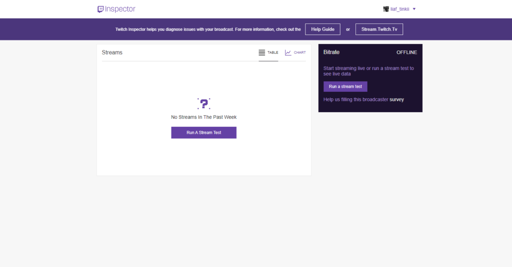 test your internet connection on twitch using inspector