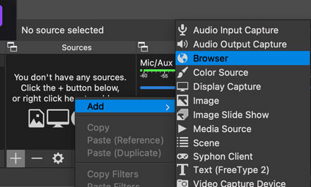 how to add a streamelements browser source url to obs studio