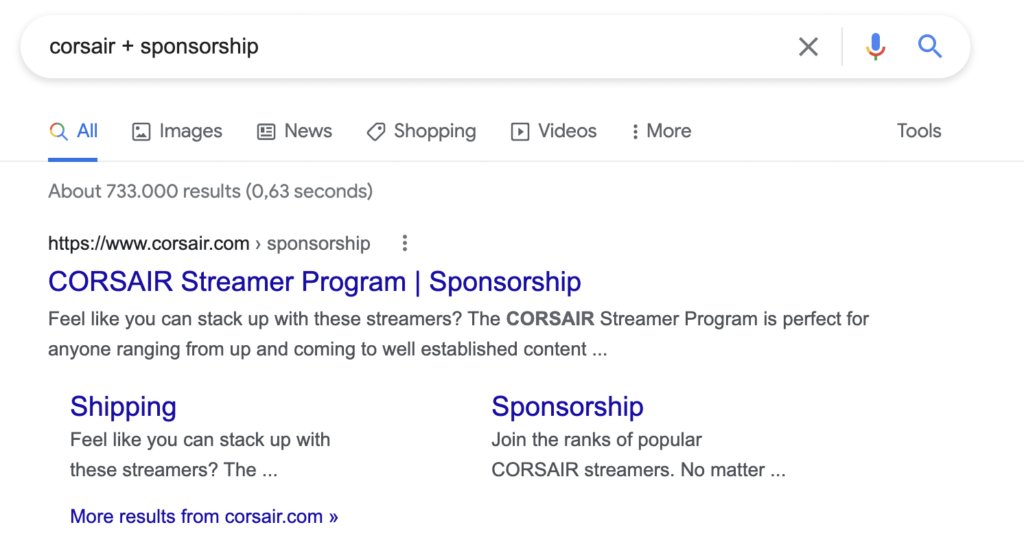 You can find the collaboration page of potential sponsors with a simple google query