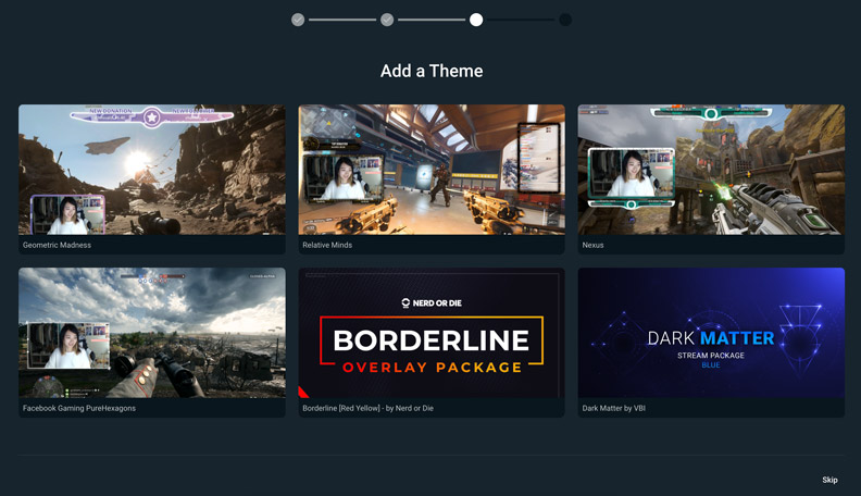 streamlabs obs comes with free themes
