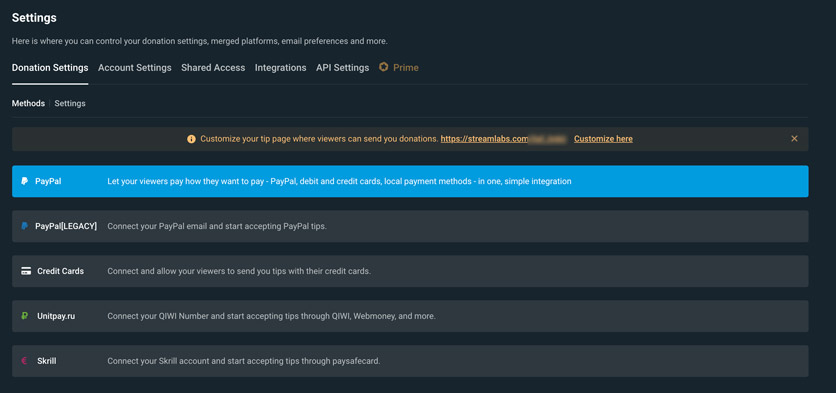 how to add donations payment methods in streamlabs